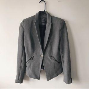 Zara TRF Grey Fitted Blazer Jacket Zippers Small